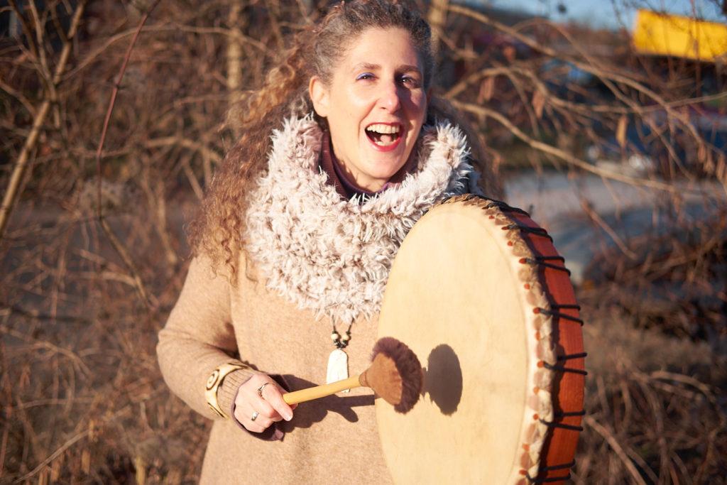 Raphaela with her shaman drum